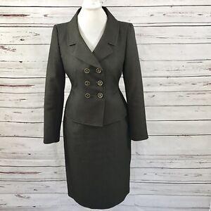 LE SUIT Petite Women's Skirt Suit Bronze Blazer Double Breasted Career Size 8P