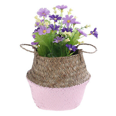 Almacenamiento cesta mimbre paja plegable flor olla praderas jardín de la rotaXM