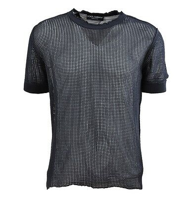 DOLCE & GABBANA RUNWAY Netz Net T-Shirt Blau Blue Bleu 02165