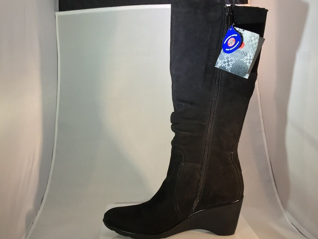 Blondo Lizeth Lizenn Black Leather Leather Black Waterproof Wedge Boot Size US 10 New a7bb86