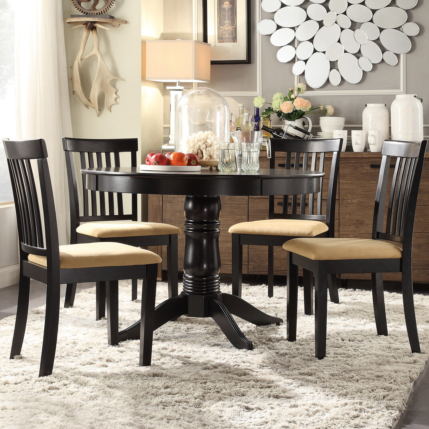 Weston Home Lexington 5 Piece Round Dining Table Set With Window Back Chairs Oak For Sale Online Ebay