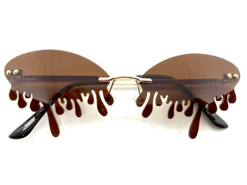 EXAGGERATED Retro PARTY Club Rave DJ SUN GLASSES Teardrop Dripping Brown Lens