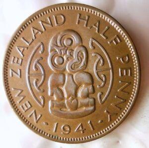 1941-Nueva-Zelanda-1-2-Penny-Raro-Fecha-Alta-Calidad-Hv-Zelanda