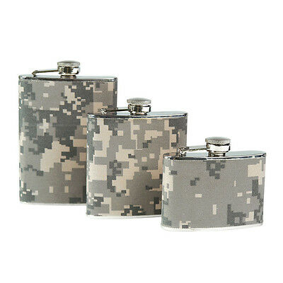Stainless Steel Digital Camo FLASK Army Pocket Alcohol Holder 4 6 8oz All Sizes