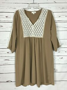 Umgee USA Boutique Women's S Small Beige Ivory Lace Cute Spring Tunic Top Blouse
