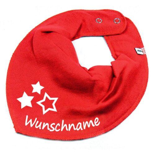 HALSTUCH drei Sterne mit Namen oder Text personalisiert für Baby oder Kind