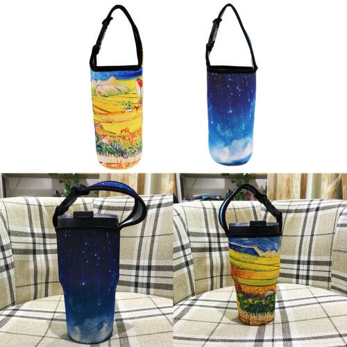 2x stilvoller Neopren Wasserflaschen Schutzhüllen Trägerhalter für