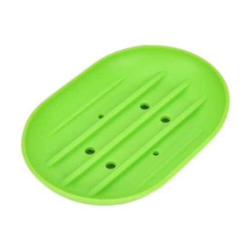 Silicone Flexible Soap Dish Plate Soap Holder Box Candy Color Bathroom Soap Case