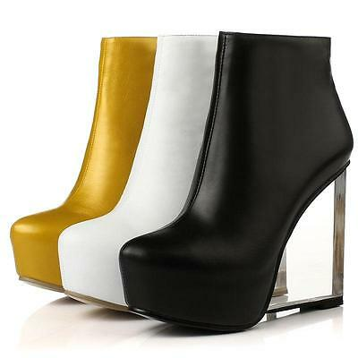 Womens New Clear High Heels Platform Ankle Boots Leather Wedges Pump Dress Shoes