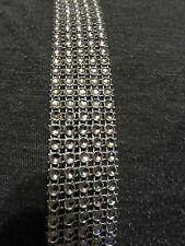 Silver grey diamond diamante effect ribbon trim bridal craft fabric 5 row 1.5m