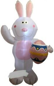 EASTER BUNNY WITH EGG AIRBLOWN INFLATABLE YARD DECORATION 7 FT