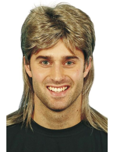 Brown Mullet Wig Mens Long 80s Fancy Dress Costume Accessory