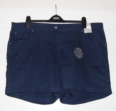 *** Nuovo Con Etichette *** Donna Blu/nero Pantaloncini, Taglia 22-mostra Il Titolo Originale Alta Qualità E Basso Sovraccarico