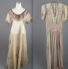 VTG 30s Lot of 2 As-Is Women's Dresses Silk Chiffon Rayon Striped Print 1930s