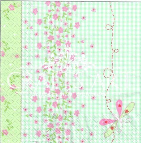 dragonfly 470 Background 4 single paper decoupage napkins tinny flowers