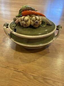 Vintage Arnart 5th Avenue Garden Harvest Soup Tureen & Lid Hand-Painted