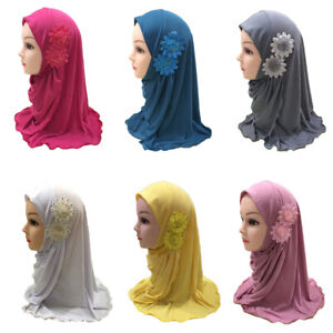 Flower-Kids-Girls-Scarf-Hijab-Hat-Muslim-Arab-Shawls-Headwear-Cap-Amira-Cover