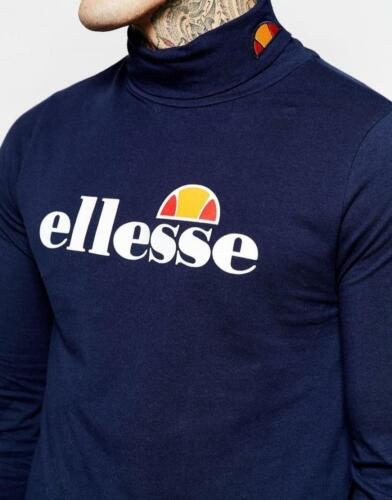 Ellesse Men/'s Roll Neck logo cotone stretch Aquilana Navy Top