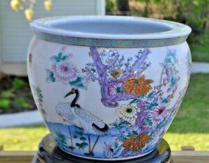 "Vintage Chinese Porcelain Fish Bowl Jardiniere Large Planter Pot. 11.25"" Tall."
