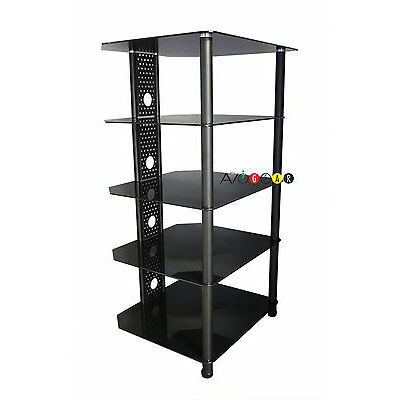 iQ HiFi Steel Audio Video Equipment Rack/Stand. 5 Glass Shelves.