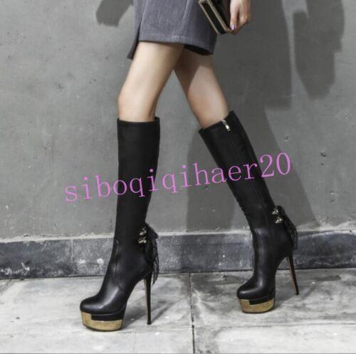 À Pour Knight Bretelles Aux Genoux Bottes Sz Côté Dos Femmes Zip Chaussures Discothèque Talon U8fwqSU