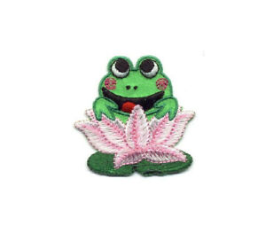 ID 7233 Lily Pad Plant Patch Frog Lake Pond Plant Embroidered Iron On Applique