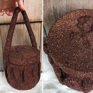 Vintage-1940s-Cylinder-Evening-Purse-Bronze-Brown-Glass-Beaded-Handbag-Purse