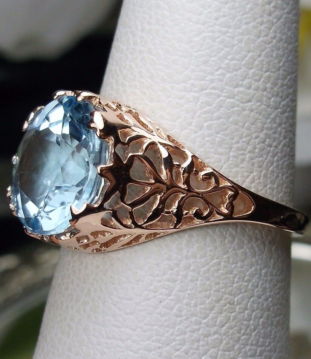 3.5ct Natural bluee Topaz Solid 14k pink gold Ivy Filigree Ring Size Any MTO