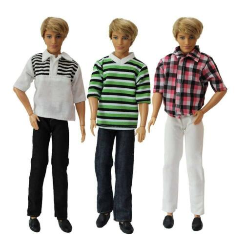 Pack of 3 Fashion Short Shirt Casual Wear Clothes Outfit for Boy Friend Doll