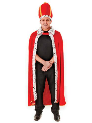 Adult Mens Classic Kings Red Robe And Crown Adult Fancy Dress Costume Royal New