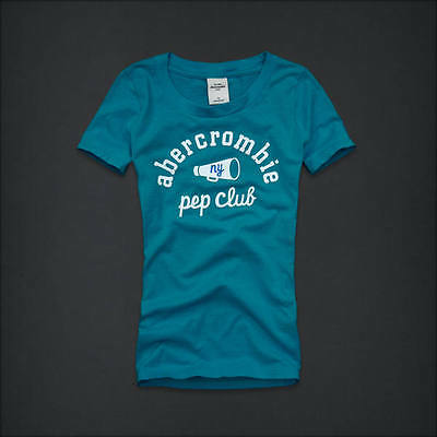 NEW ABERCROMBIE KIDS BLUE LOGO GRAPHIC TOP TEE SIZE M 8 L 10