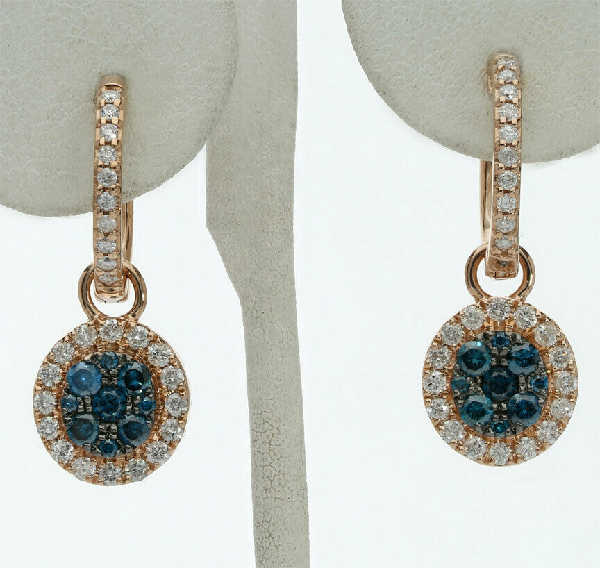 76784a8a8f5df bluee gold pink 14K earrings halo hoop Diamond champagne charm .85CT ...