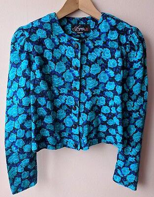 90s Luce Vintage Giacca Bolero Top Shirt 12 Blu Teal Con Motivo Rosa Floreale-mostra Il Titolo Originale Acquista One Give One