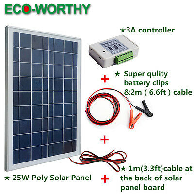 25W 12V Solar Panel System Kit with Battery Clips & 3A Controller for Home RV