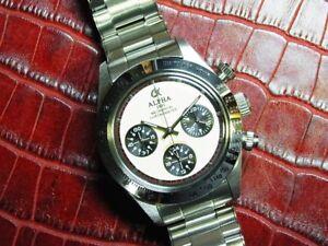 Alpha Daytona Paul Newman Panda Dial Chronograph Watch On Rivet Bracelet