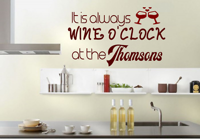 kitchen wine PERSONALISED surname living room Wall Art Vinyl Decal Sticker V126