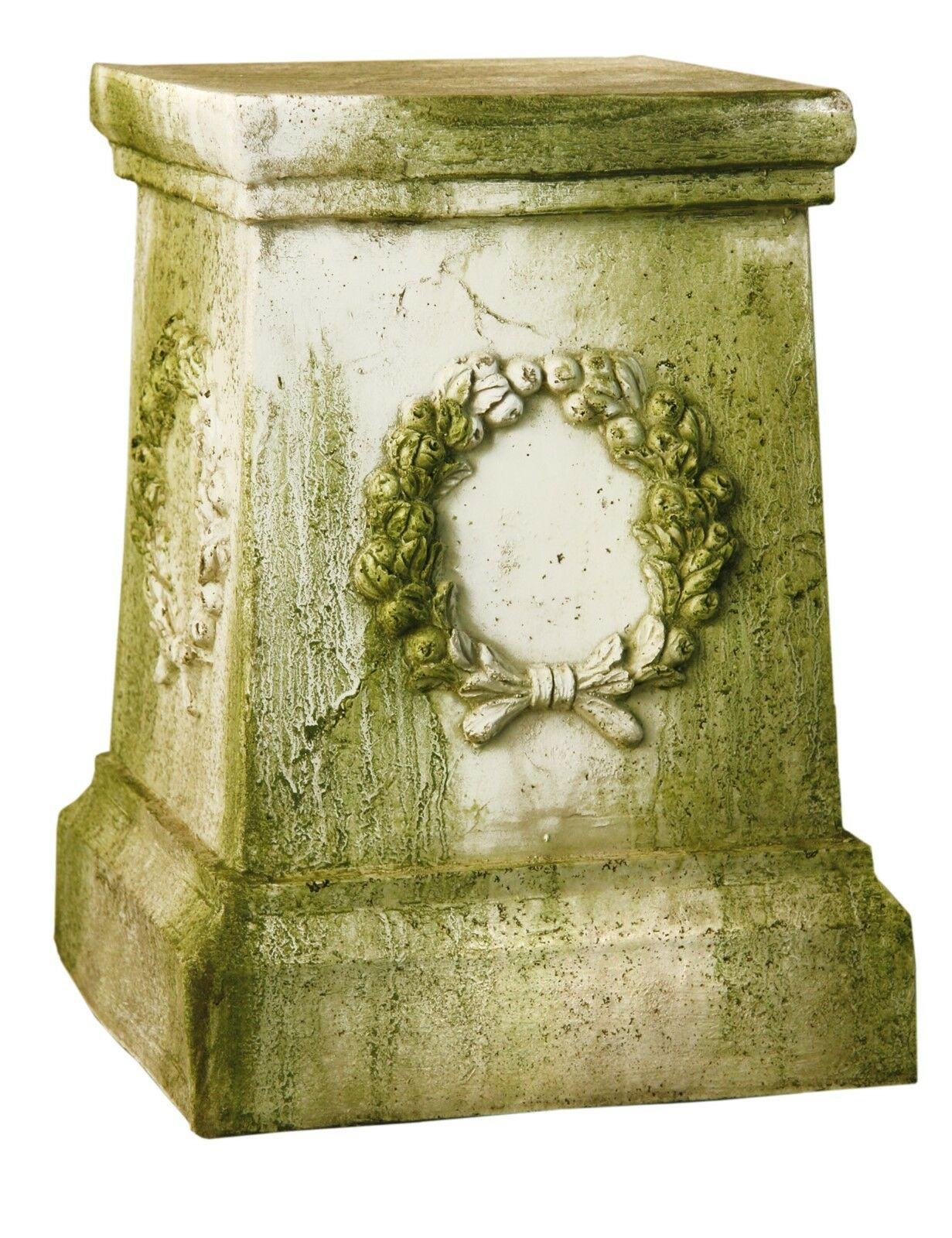 Wreath Outdoor Garden Pedestal For Urn, Statue- Fiberstone by Orlandi FS35012