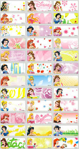 63c93bae25eb 36 Disney Princess Personalised Name Label Sticker 3x1.3cm vinyl ...