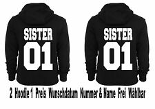 Sister Sister Hoodie Pullover 2 Stück Partner Look Pärchen Viele Farben XS -5XL