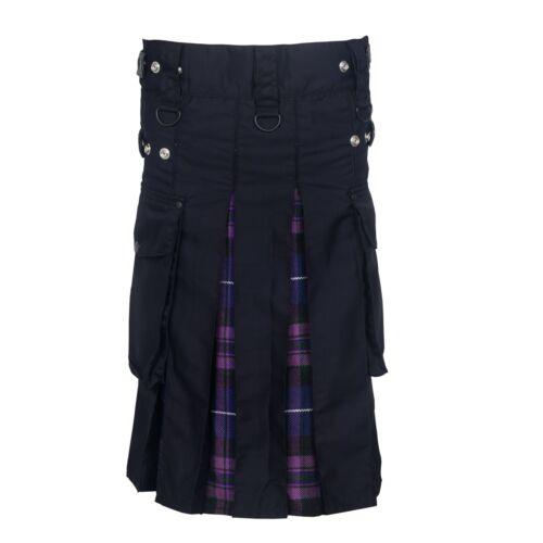 Pride Of Scotland Men/'s Hybrid Leather Straps Cotton /& Tartan Utility Kilt
