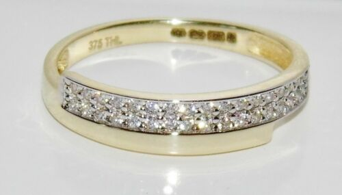 UK Hallmarked 9ct Yellow Gold 0.15ct Crossover Eternity Wedding Ring size M