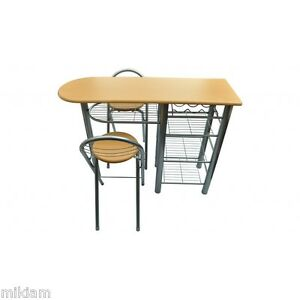 Kitchen table bar small with 2 chairs wine rack storage shelves kitchen table - Petite table et chaise ...