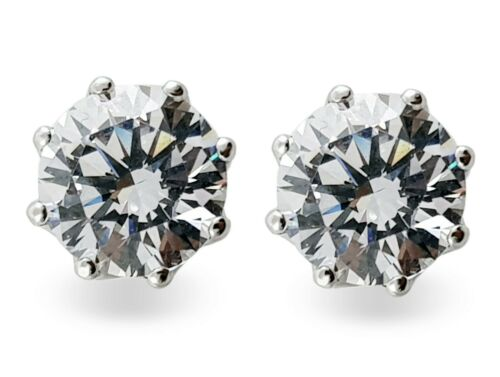 925 Sterling Silver Stud Earrings CZ Filigree 6 tcw Round White Prong Classique