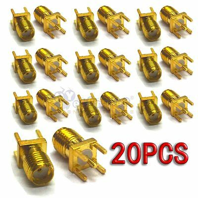 20 pcs Gold SMA Female Jack Solder PCB Board Mount Straight RF Connector Adapter