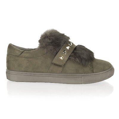 Damen Flach Stecker Skater Slipper Turnschuhe Sneakers Turnschuhe Pumps Schuhe