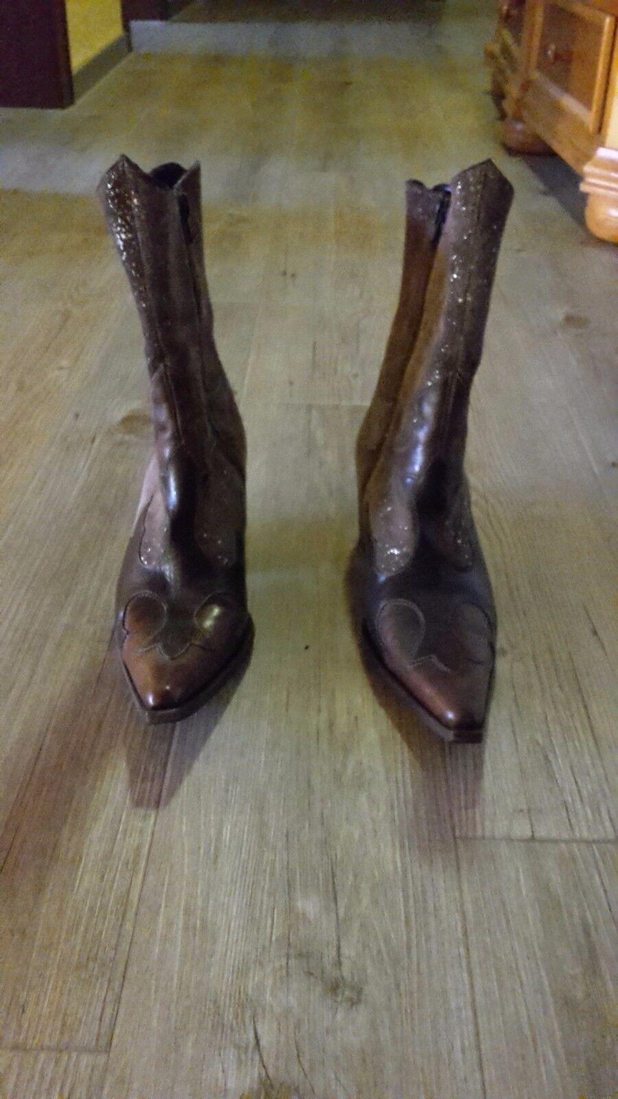 Italienische Stiefelette 37,5 38 braun Gold echtes Leder  Cowboystiefel