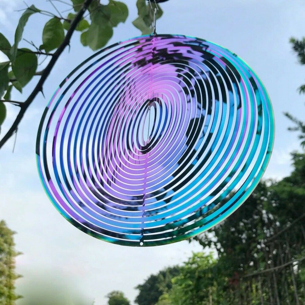 Wind Spinner Rotating Wind Chime Stainless Steel 3D Pattern Hanging free ship