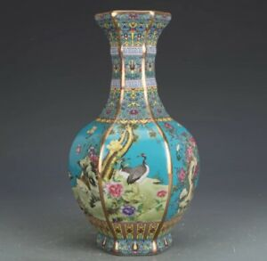 Enamel porcelain vase Jingdezhen Hexagonal Chinese ceramic Antique Reproduction
