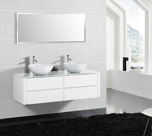 Doppelwaschtisch aufsatzwaschbecken  Badezimmermöbel Set Badmöbel Doppel Waschtisch Aufsatzwaschbecken ...