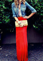 Red Maxi Skirt Jersey Knit Elegant Gypsy Rockabilly Forever 21 Style Plus Sizes